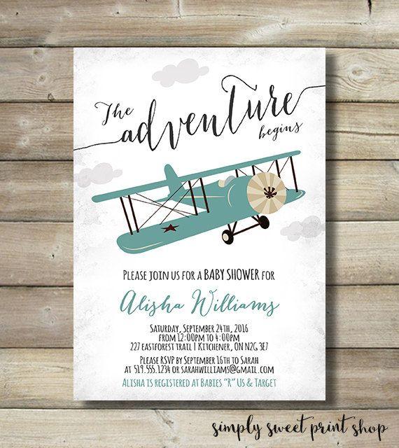 Adventure Map Invite Boy Shower Invitation Airplane World Adventure Baby Shower Invitation Airplane Shower Invitation DIY or Printed