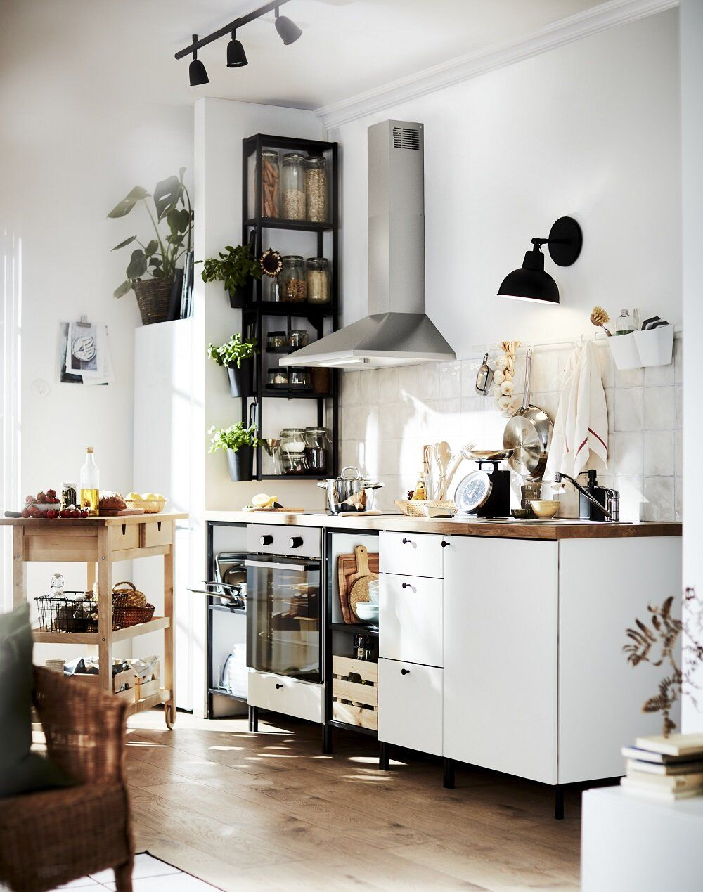Small white IKEA kitchen with open shelves in 2020 Ikea