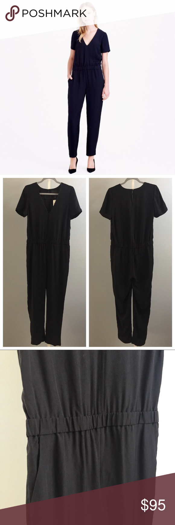 b0cb5733f50 J Crew Collection Jumpsuit Romper in Pitch Black Gorgeous silky feel J Crew  Collection Jumpsuit in Pitch Black. Size 8. New without tags....plastic tag  ...