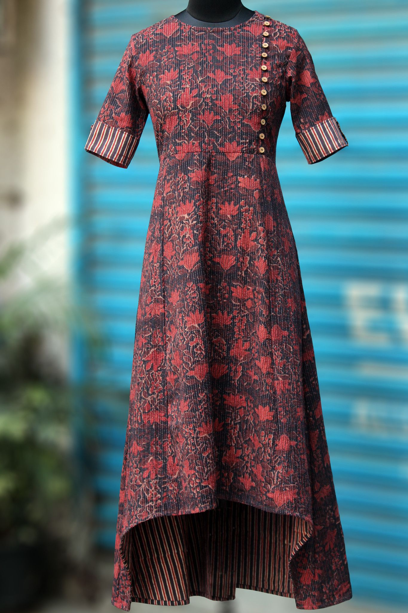 MaatiCrafts Red Printed High Low Kurti | Women's Kurti ...