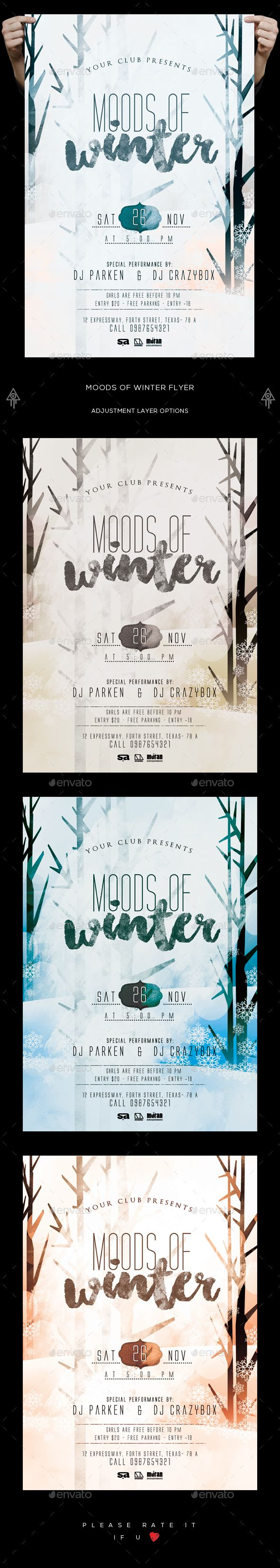Moods Of Winter Flyer  Flyer Template Template And Winter