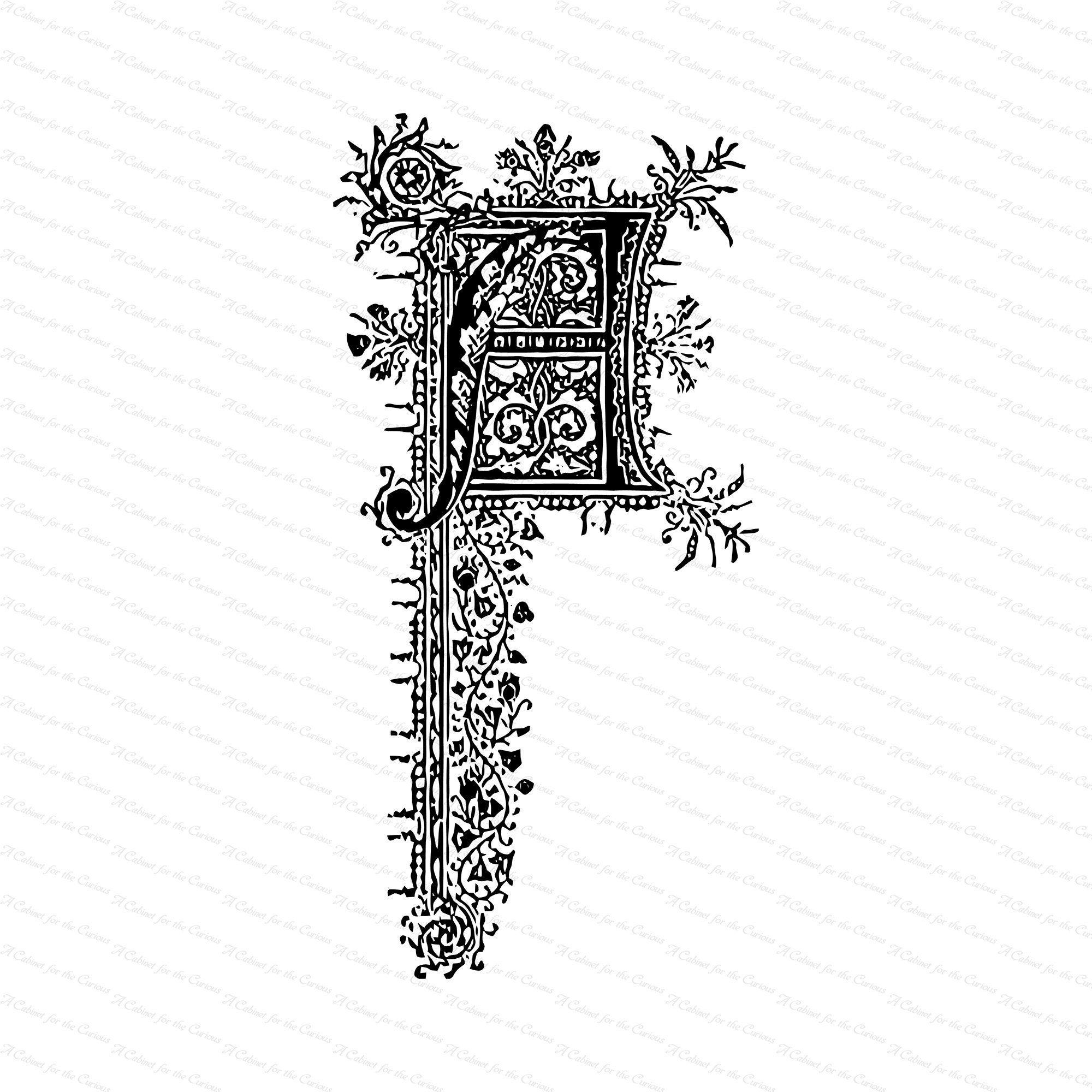 Ornamental Penwork Initial Letter A Vector Clipart