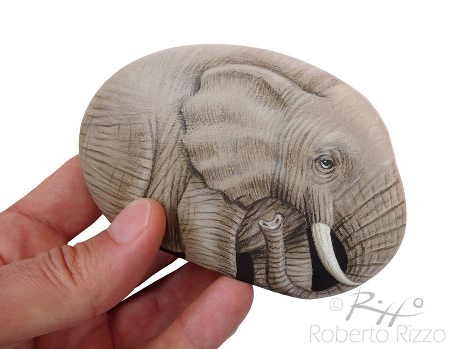 I'm Very Proud of this New Piece Just Finished. A Lovely Rock Painted Elephant, Realized on a Perfect Shaped Stone, one of my Favourites Artworks,  An Unrepeatable Piece and a great Gift Idea for all of you, Nature Lovers! #art #fineart #paintedrocks #paintedpebbles #paintestones #robertorizzo #elephant #etsy #etsyfinds