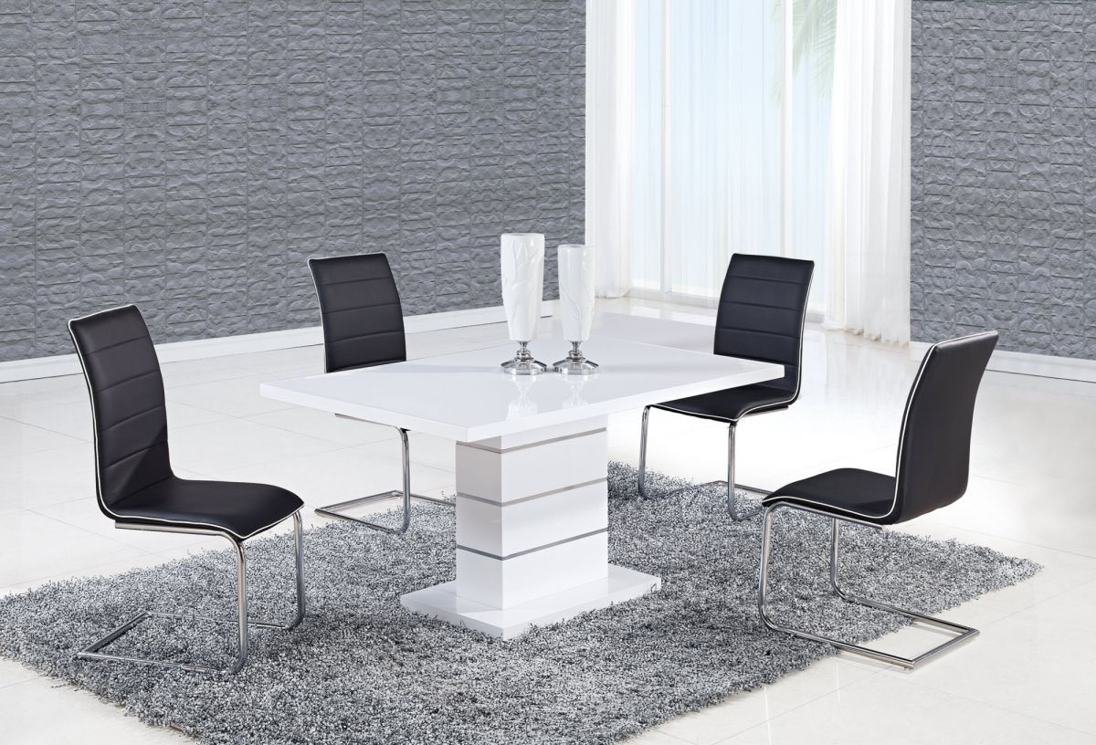 Exclusive rectangular in wood designer table and chairs set