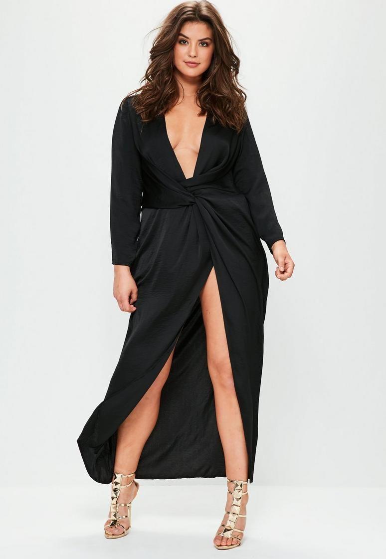 Curve Black Satin Thigh Split Wrap Maxi Dress Maxi Wrap Dress Plus Dresses Maxi Dress [ 1121 x 774 Pixel ]