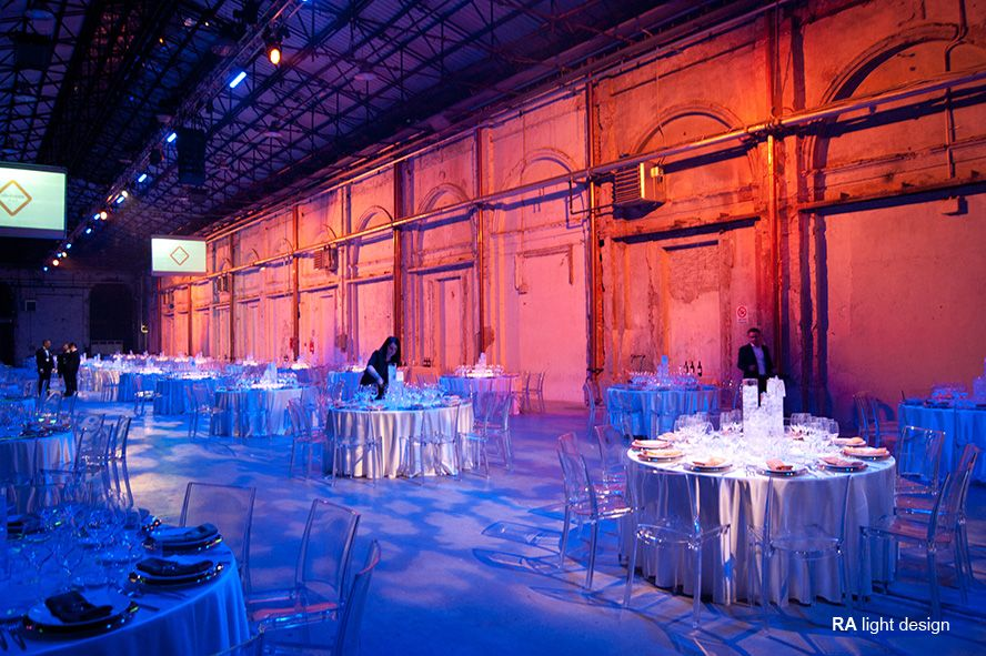 table Lights for a corporate event at stazione Leopolda Florence   www.ralightdesign.com