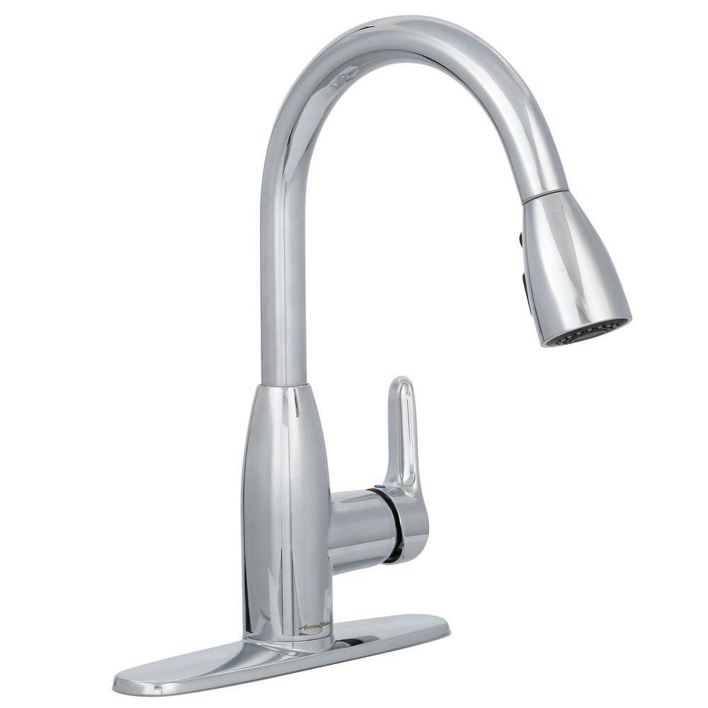 American Standard Colony Soft Single Handle Pull Down Sprayer Kitchen Faucet In Polished Chrome Faucet Polished Chrome Faucet Handles