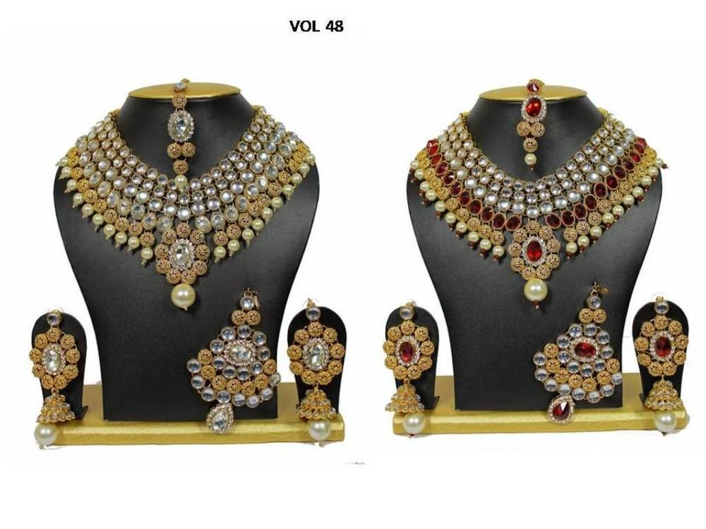Traditional Beautiful Gold Plated Kundan Made Full Bridal Necklace ...