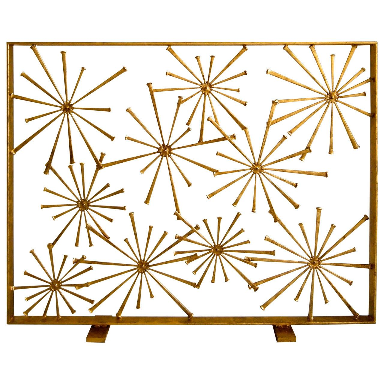 Gilded Steel Studio-Made Starburst Fire Screen By American ...