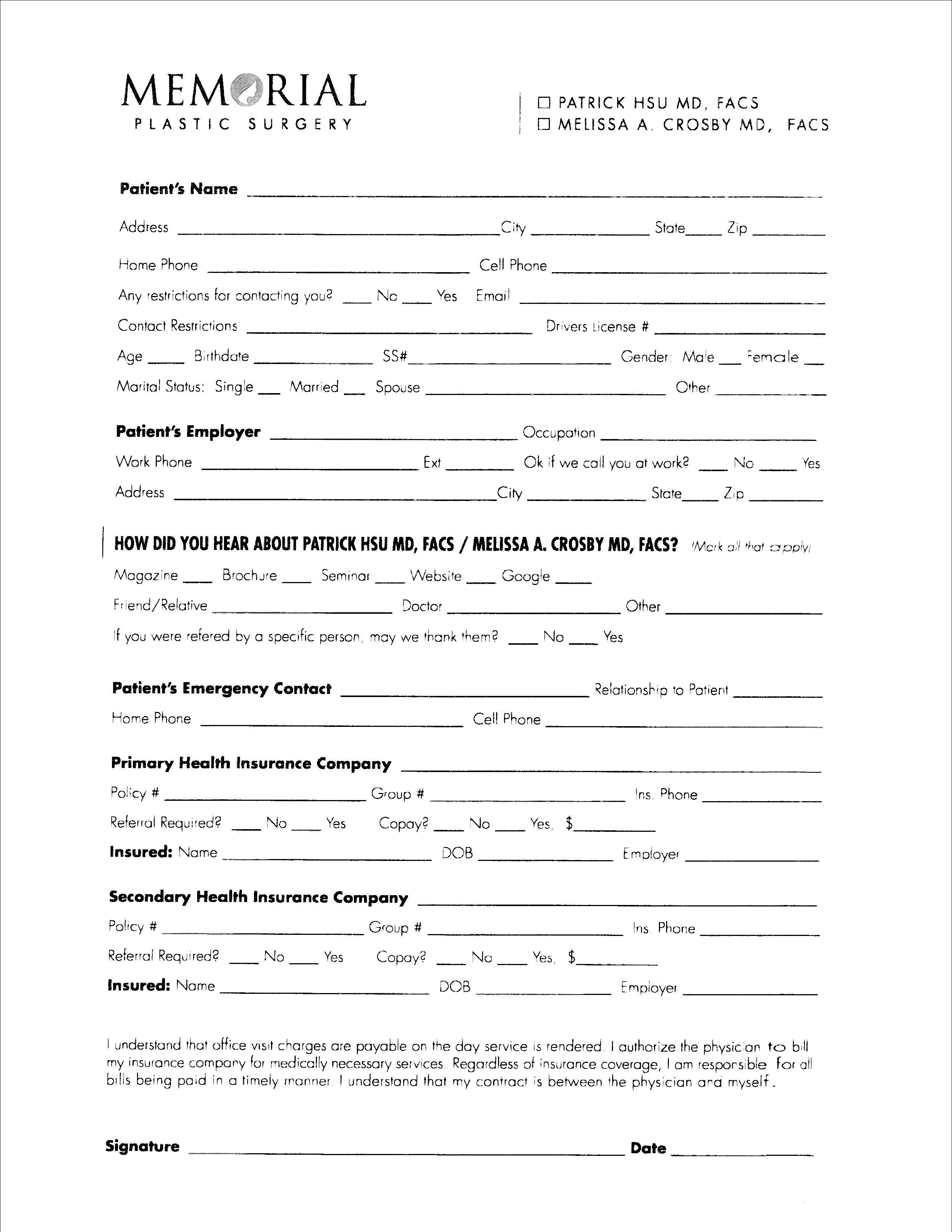 For a faster consultation with Memorial Plastic Surgery, fill-out ...