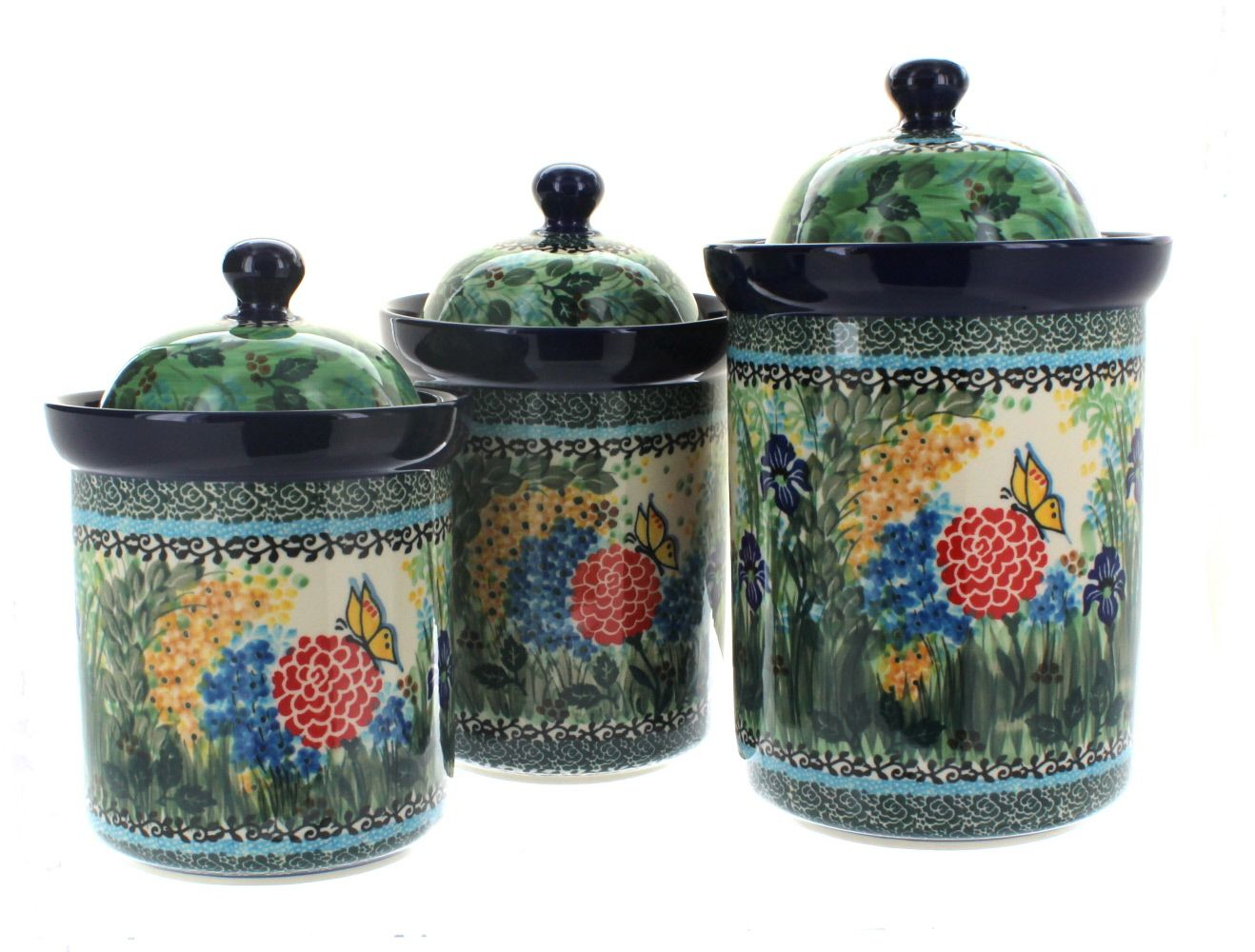 Teresa 3PC Canister Set   Blue Rose Polish Pottery