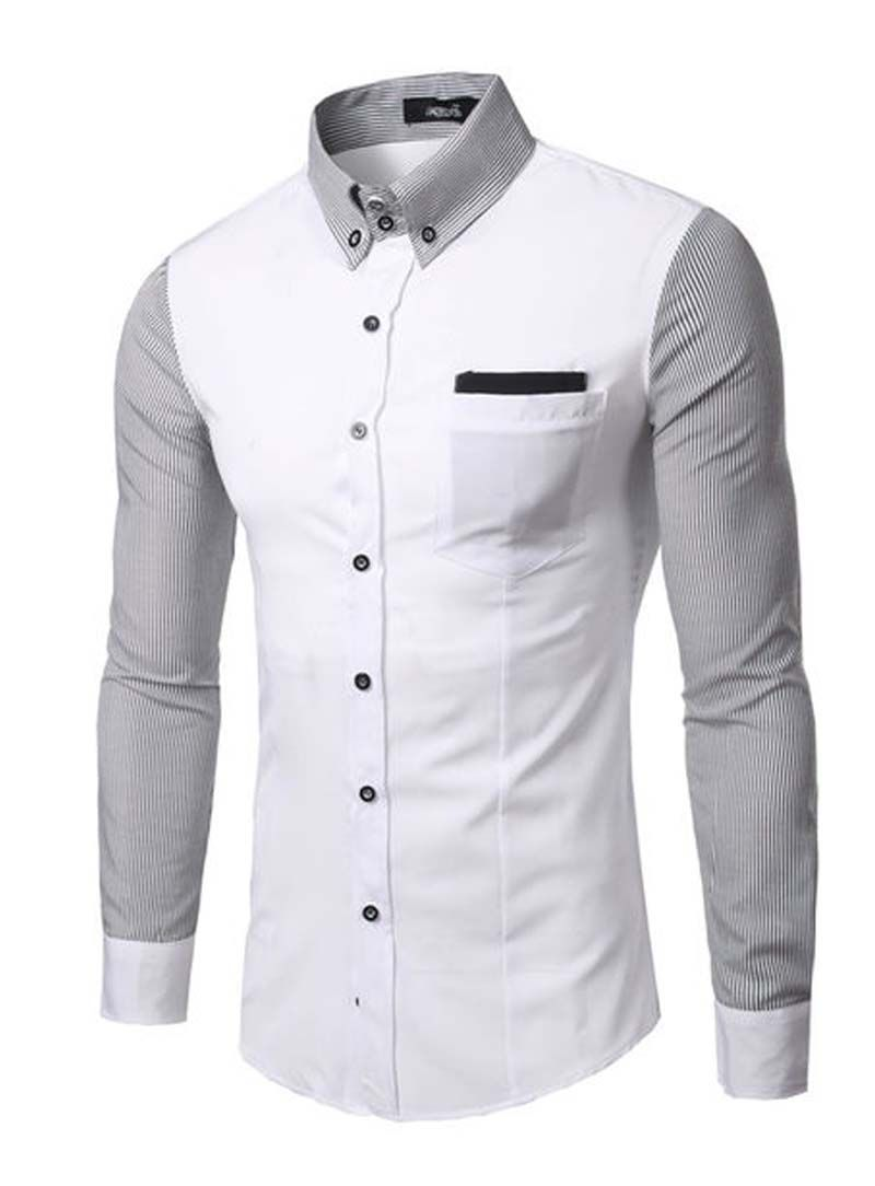 Fvogue Chic Striped Print White Fitted Men Shirt 1799 Mens