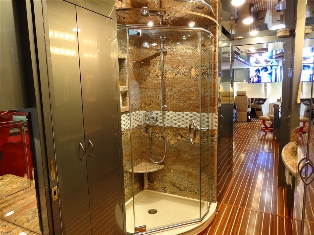 Image Gallery For Website The Woody RV Interior Remodel Shower Hmmm gold shower bathroom