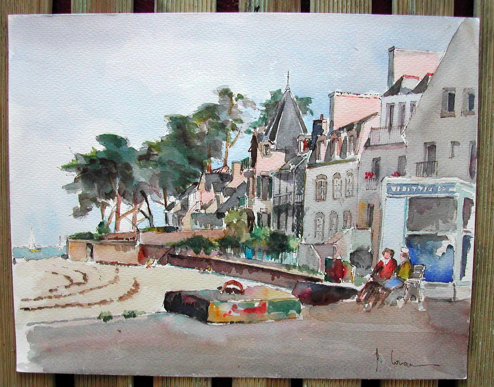 Aquarelle Le Port De Loctudy En Finistere Non Encadre Fond D