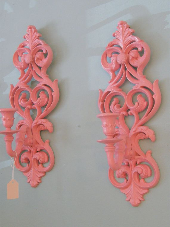 Vintage sconce pair shabby chic pink candle holder wall hangings cottage prairie #thriftstorefinds