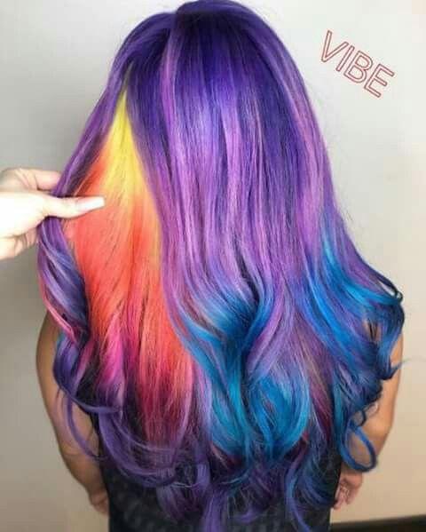 Purple Rainbow Multi Dyed Hair Hair Styles Cool Hair Color Long Hair Styles