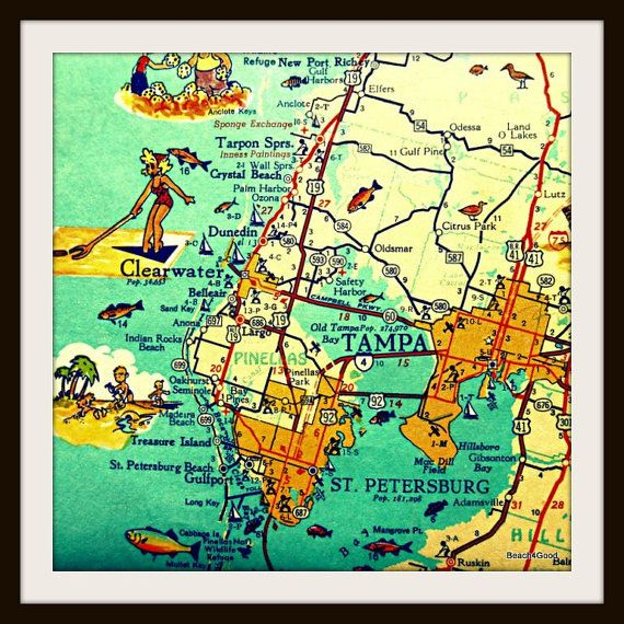 Florida Map Tampa.Tampa Florida Map Clearwater St Petersburg Beach Home Decor