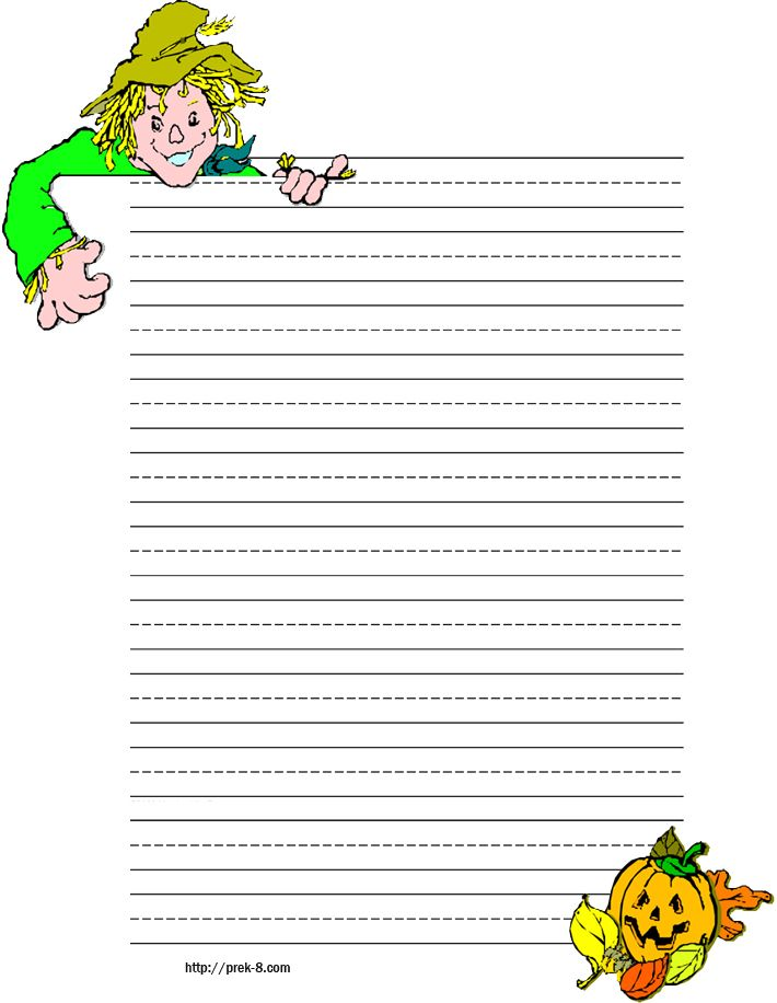 halloween scarecrew and pumpkin primary lined kids writing paper - print lined writing paper