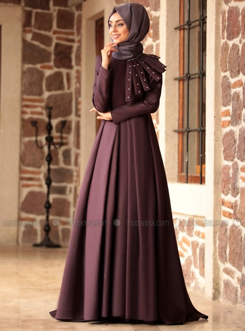 232968e199 Purple - Fully Lined - Crew neck - Muslim Evening Dress in 2019 ...