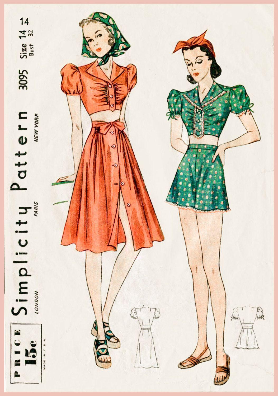 1930s 1940s Büste Vintage Nähen Muster Ernte oben Puff Bluse Strand ...