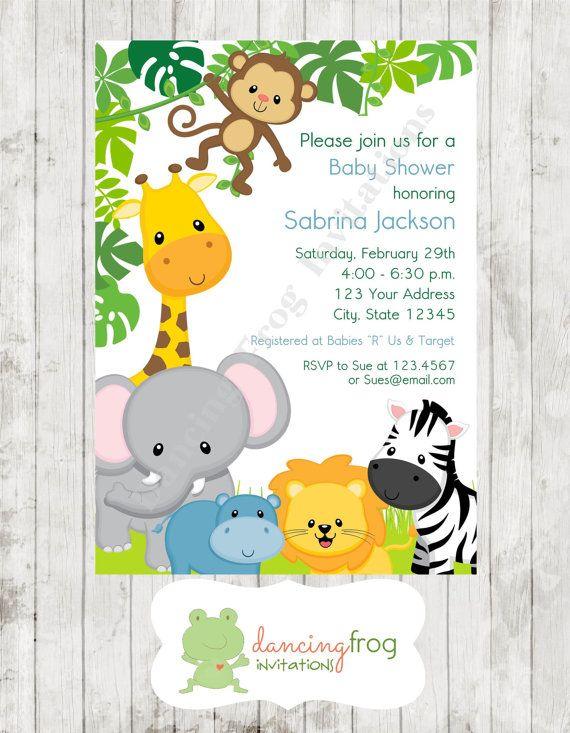 boy or girl wild animals jungle safari baby shower invitations