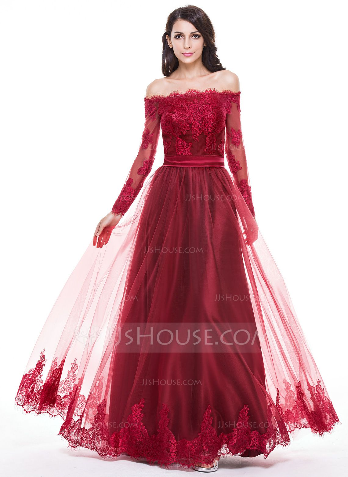 A-Linie/Princess-Linie Off-the-Schulter Bodenlang Tüll Abendkleid ...