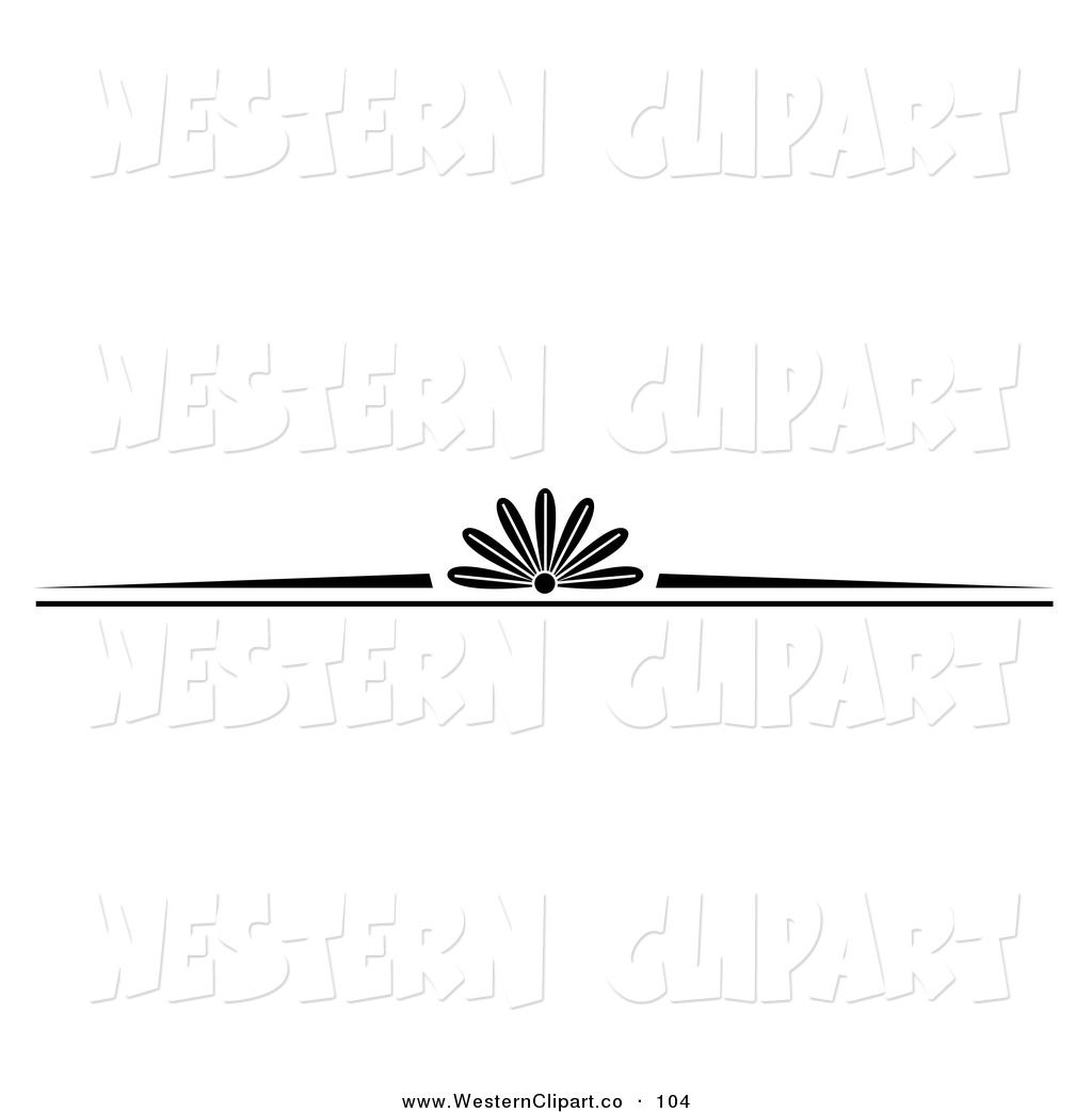Western Border Clip Art in Black and White