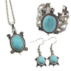 Contever® Attractive Bijoux Set Vintage Collier Turquoise Boucles D'oreilles Pour Les Femmes – Tortue en forme