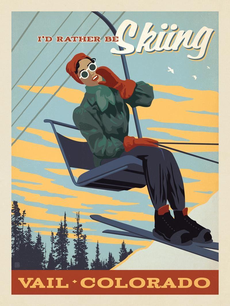 POSTER SKI FUN WHISTLER BLACKCOMB CANADA DOWNHILL SKIING VINTAGE REPRO FREE S//H