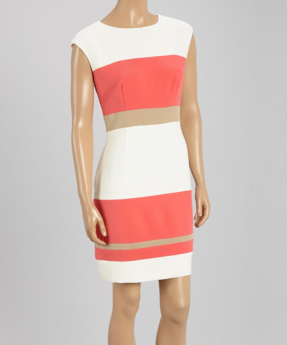 Look at this Sandra Darren Coral & White Color Block Sheath Dress on #zulily today!