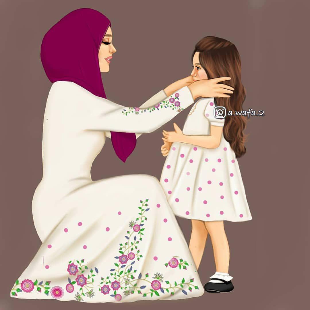 تحبون الطفل البنت لو الولد Fashionyista صور كارتونية للحلوات منشن لصديقاتك تشوفهن Mother And Daughter Drawing Mother Daughter Art Mother Art