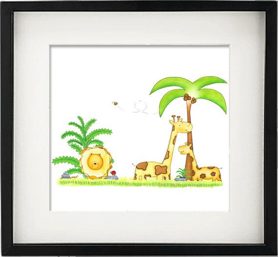 Little Jungle Friends  Nursery Illustration by Baby Eggplants.