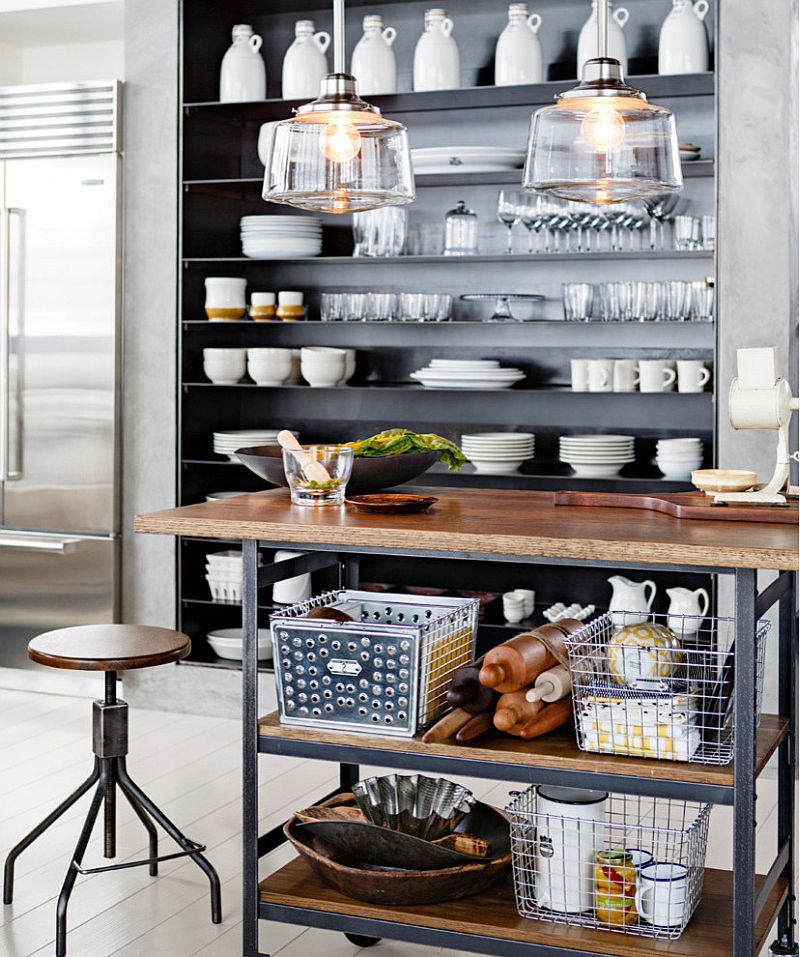 Decorating Your Industrial Kitchen In Style With The Right Accessories Kitchen Shelf Design Industrial Style Kitchen Industrial Kitchen Design