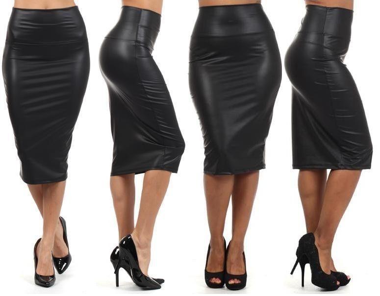 Details about NEW WOMEN BLACK FAUX LEATHER PENCIL SKIRT High Waist ...