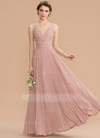 [US$ 154.00] A-Line V-neck Floor-Length Chiffon Lace Bridesmaid Dress With Pleated (007176770) #lacebridesmaids