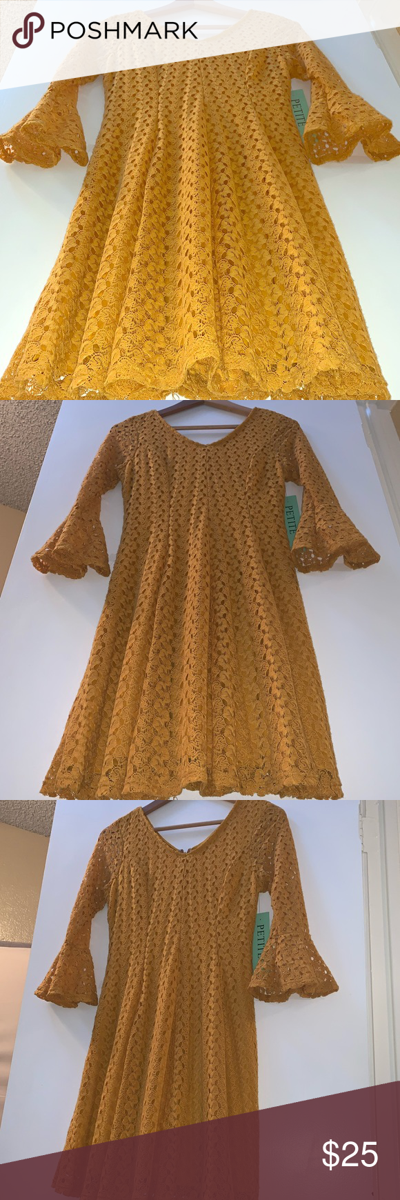 Photo of Mustard Gold Yellow Boho Lace Bell Sleeve Dress Size Petite Small Lace Detail Go…