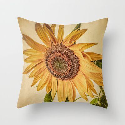 Vintage Sunflower Throw Pillow by Edward M. Fielding - $20.00