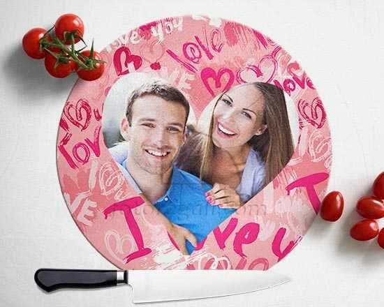 Tagliere rotondo in vetro Words of love