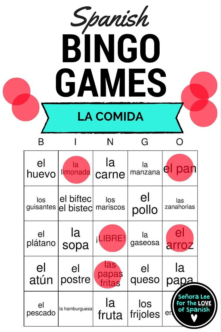 Bingo Cards Printed  Per Page To Practice  Spanish Food Vocabulary Words Includes Word List Students Will Love This
