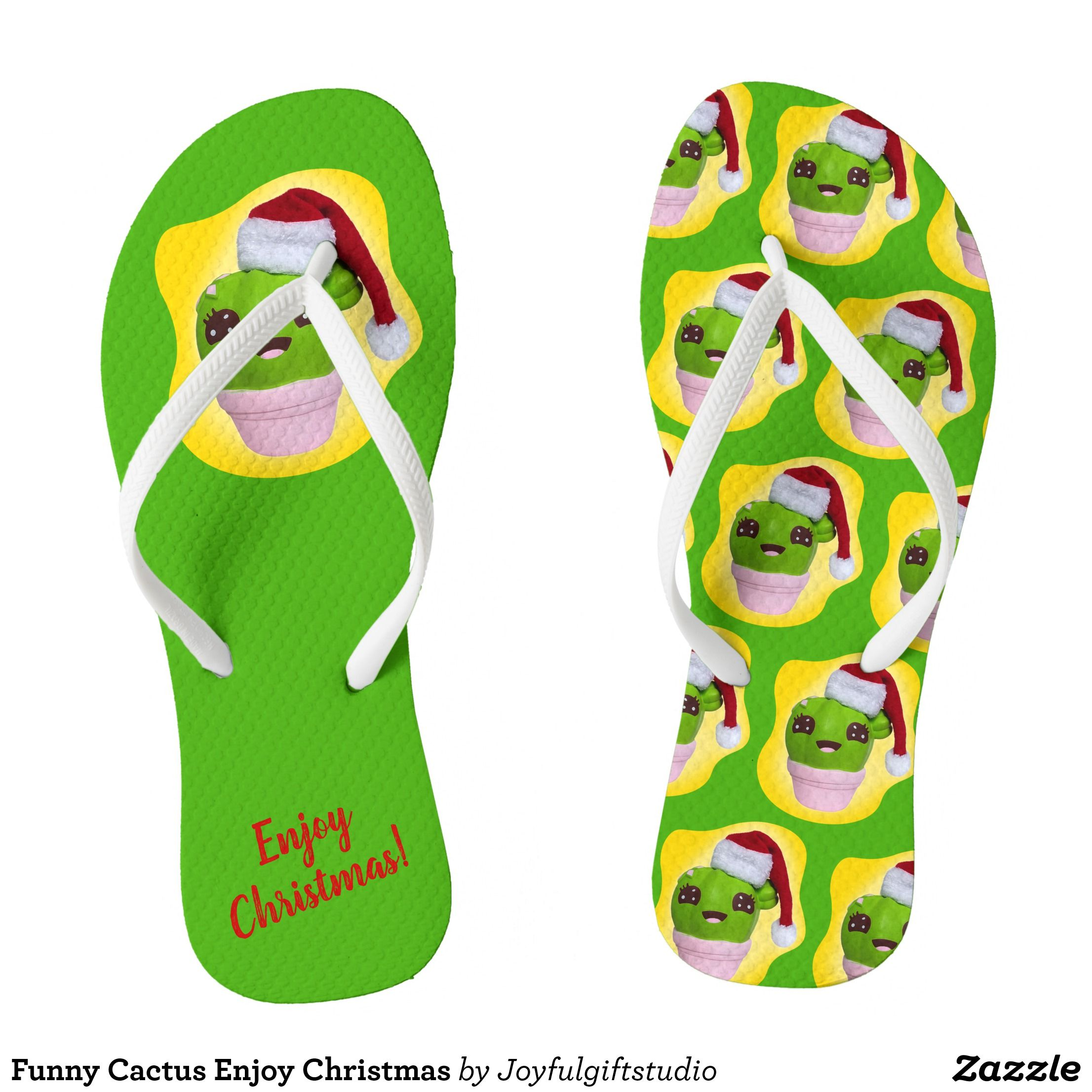 1bd6f534b4a7 Funny Cactus Enjoy Christmas Flip Flops - Durable Thong Style Hawaiian  Beach Sandals By Talented Fashion   Graphic Designers -  sandals  flipflops   hawaii ...