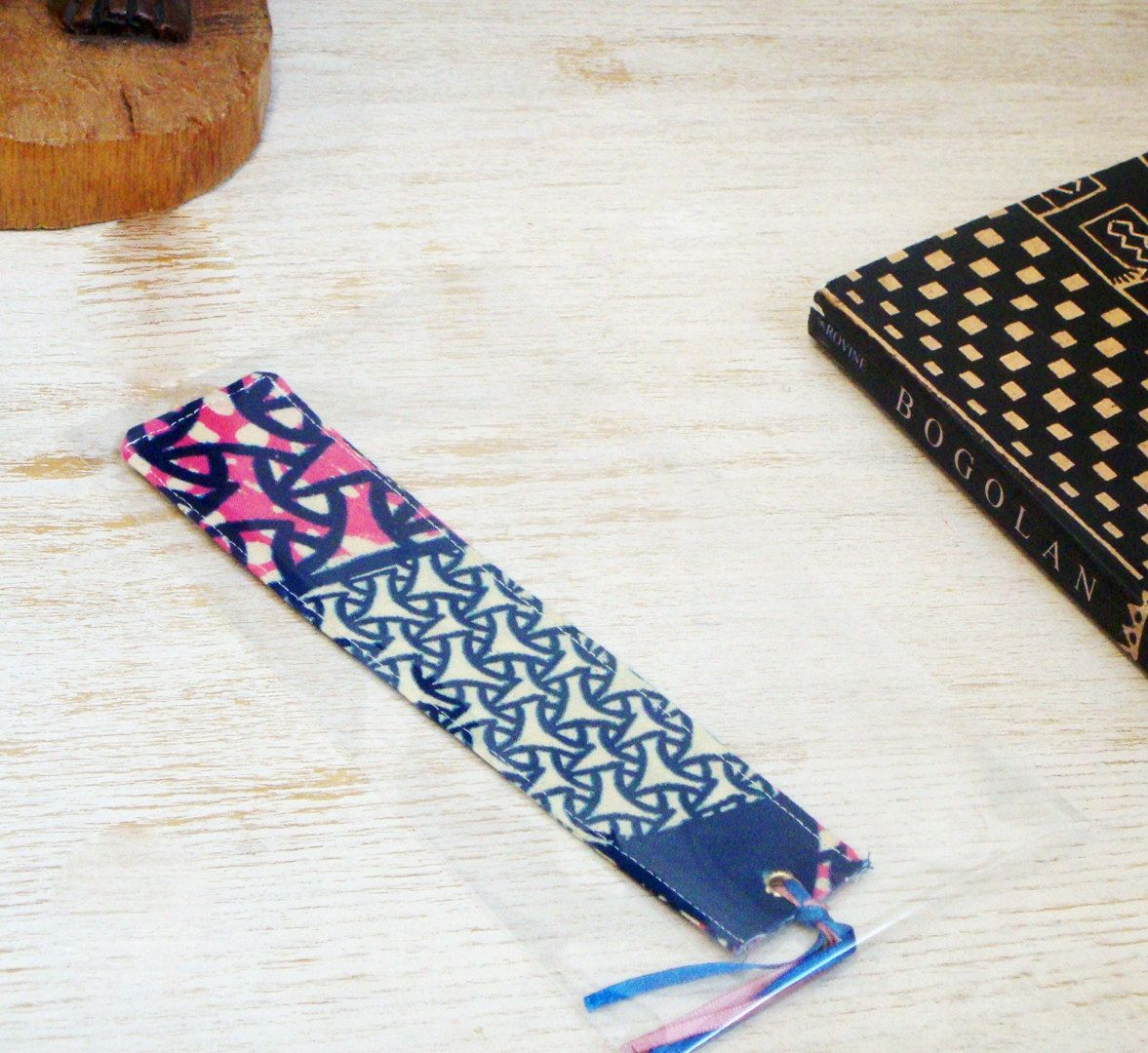 New to TamiahDesigns on Etsy: Handmade Fabric Soft Bookmark Satin Ribbon African Print Gift Book Lovers Fun Original Authentic Coworker Birthday Pink Blue (6.99 GBP)