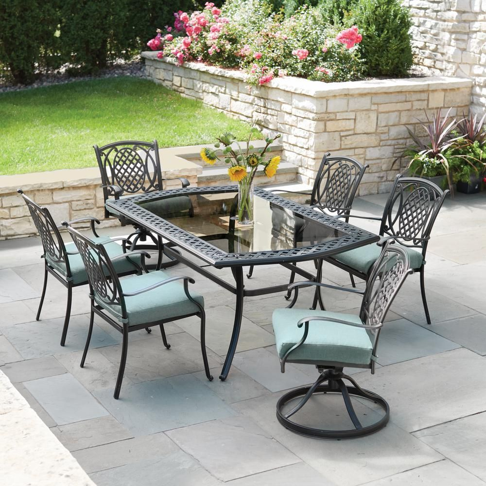 Hampton Bay Belcourt 7 Piece Metal Outdoor Dining Set With Spa