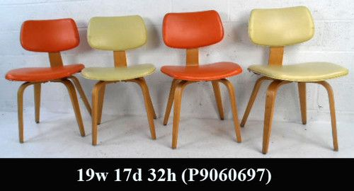 set of mid century modern upholstered bentwood chairs by thonet