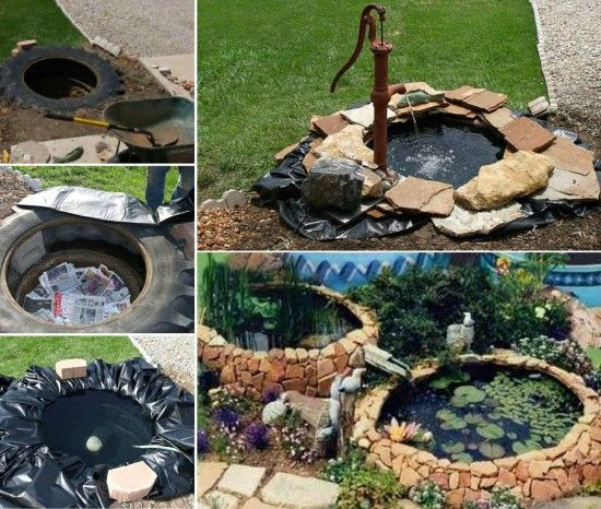 tractor tire pond instructions easy diy gartenideen wasserspiele wassertr ge miniteiche. Black Bedroom Furniture Sets. Home Design Ideas