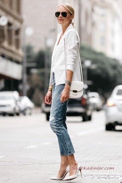 2020 Bayan Beyaz Blazer Ceket Kombinleri Mavi Kot Pantolon Krem Bluz Beyaz Blazer Ceket Leopar Desenli Babet Ayakkabi Blazer Ceket Moda Stilleri Moda