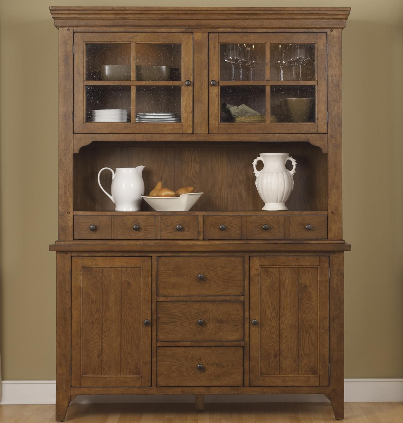 Hearthstone Mission Style Buffet With China Hutch By Liberty Furniture Dining Room CabinetsKitchen