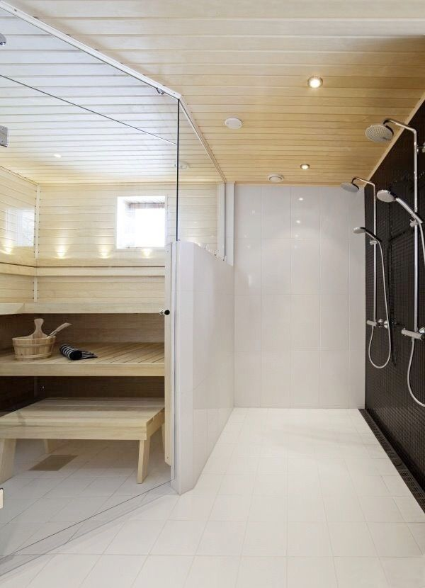 Pin by kiinteist maailma sein joki on sauna pinterest for Master bathroom with sauna