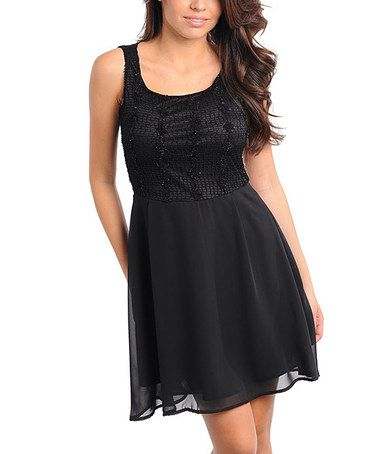 Take a look at this Black Flower Dress by Buy in America on #zulily today!