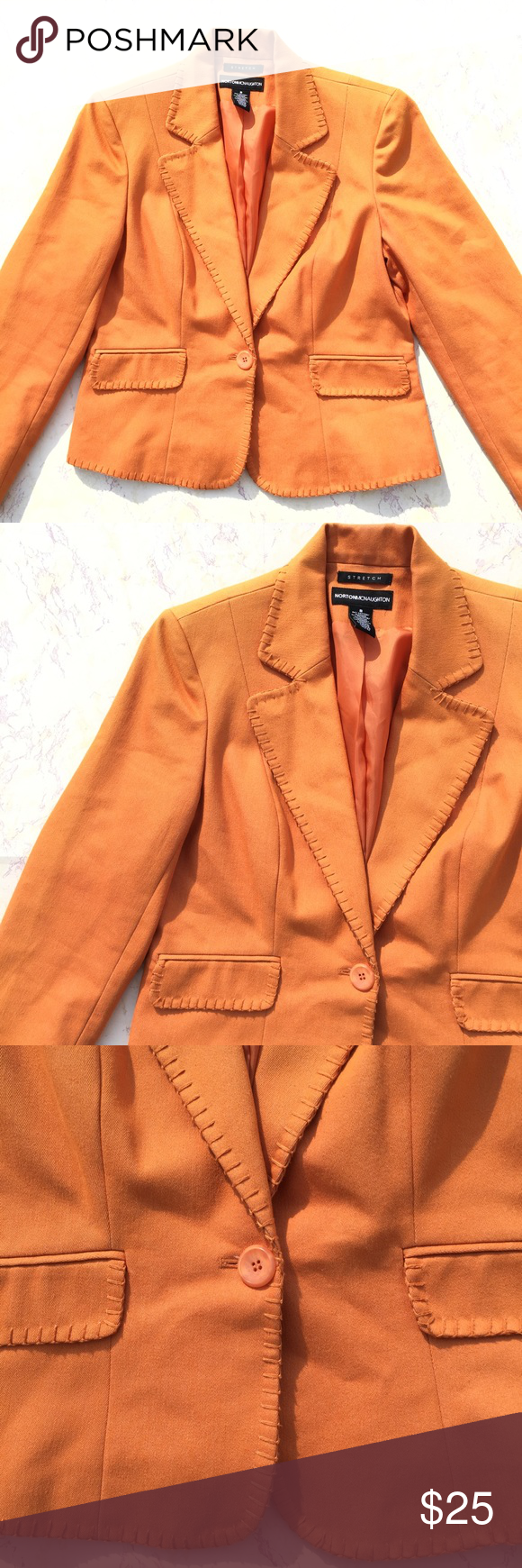 {Norton McNaughton} Orange Long Sleeve Blazer Pretty orange long sleeve Blazer in great condition! Has a lot of stretch. Size 8. Norton McNaughton Jackets & Coats Blazers