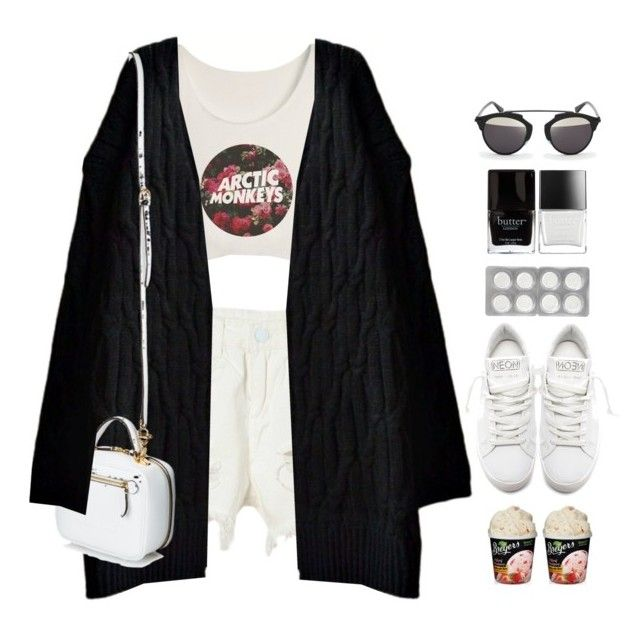 """""""*1534"""" by cutekawaiiandgoodlooking ❤ liked on Polyvore featuring WithChic, Golden Goose, Mark Cross, Butter London, Christian Dior, whitesneakers and beautifulhalo"""